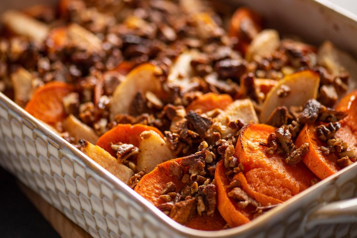 Maple Glazed Sweet Potato Pear Casserole
