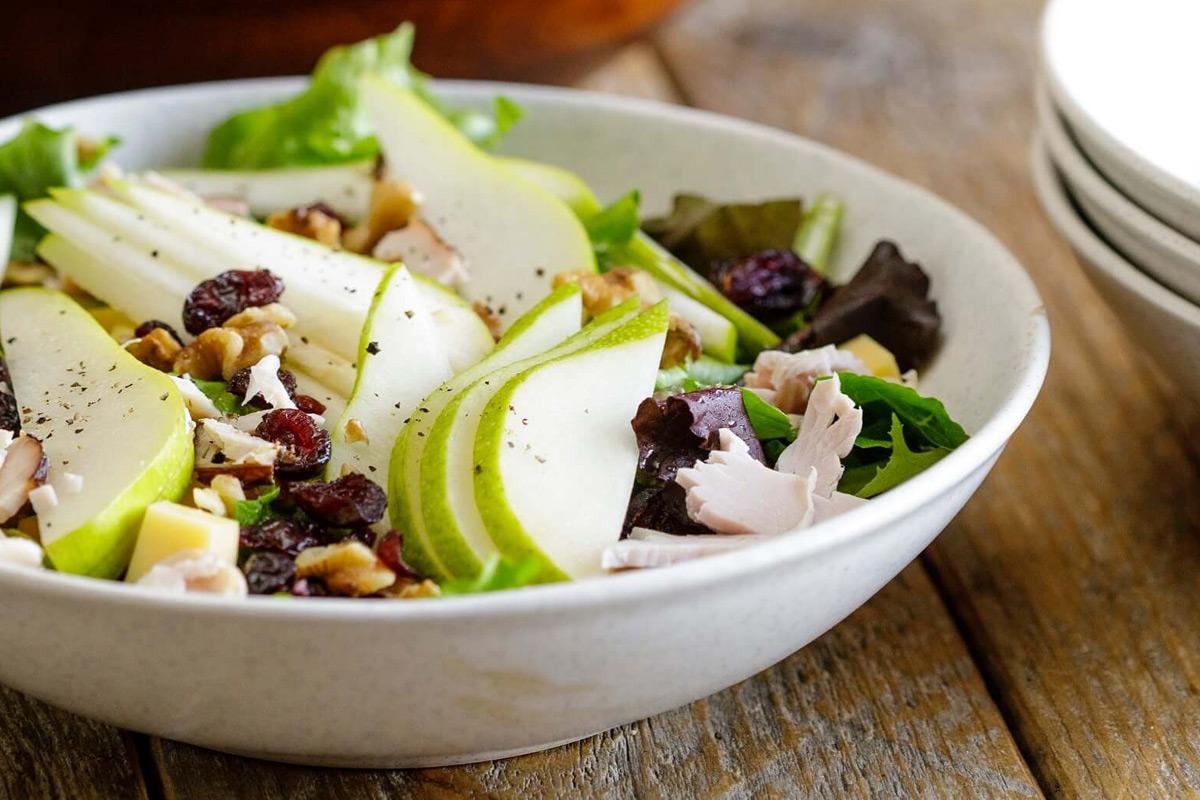 Pear Turkey Salad Aged Gouda Walnuts
